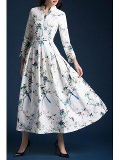 V Neck Floral Evening Dress - Off-white S