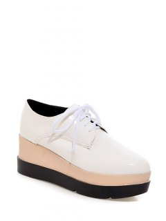 Pointed Toe Platform Tie Up Wedege Shoes - White 38