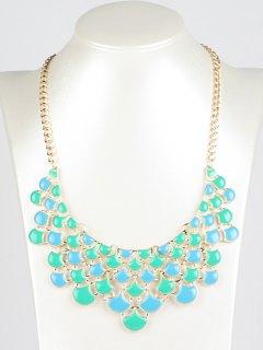 Hollowed Faux Gem Necklace - Light Blue