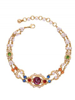Vintage Artificial Gem Pearl Beads Necklace - Golden