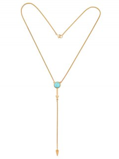 Faux Turquoise Geometric Circle Pendant Necklace - Golden