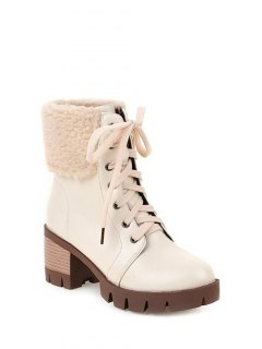 Faux Shearling Lace-Up Chunky Heel Boots - Off-white 38