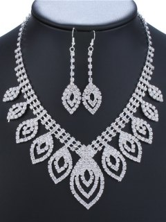 Hollow Out Leaves Rhinestone Jewelry Set - Silver