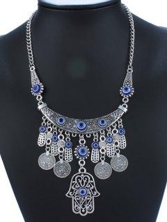Statement Coin Tassel Geometric Necklace - Blue