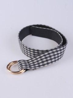 Wool Plaid Pattern Round Buckle Belt - Black
