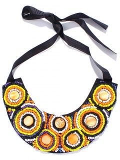 Circle Beaded Ribbon Necklace - Yellow