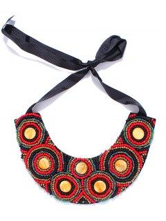 Faux Stone Ribbon Bib Necklace - Red