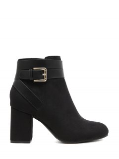 Buckle Chunky Heel Cross Straps Ankle Boots - Black 37