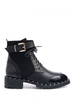 Tie Up Splicing Rivets Ankle Boots - Black 37
