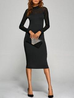 Long Sleeve See-Through Midi Bodycon Dress - Black S