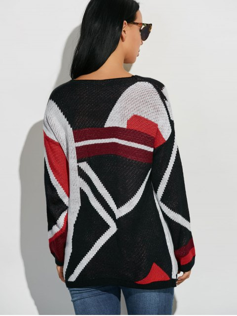 best Scoop Neck Oversized Color Block Sweater - COLORMIX ONE SIZE Mobile