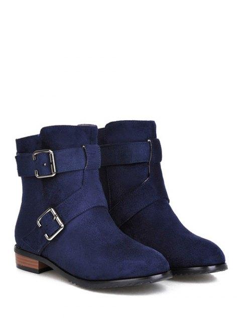 best Flat Heel Round Toe Buckles Short Boots - DEEP BLUE 37 Mobile