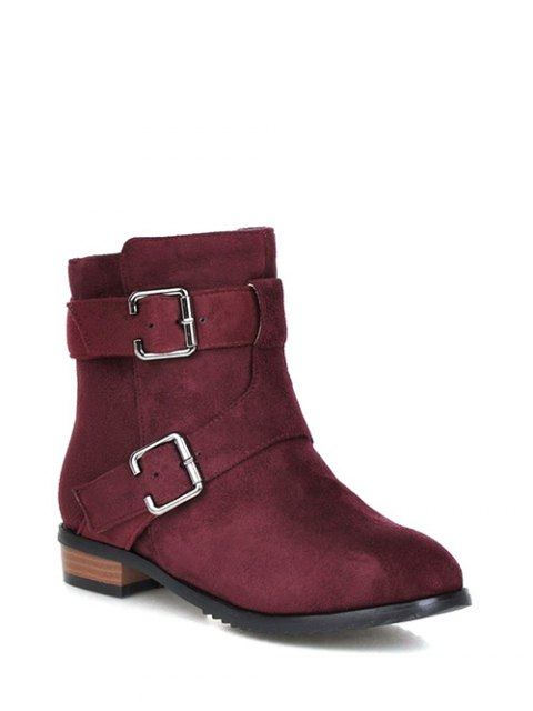 new Flat Heel Round Toe Buckles Short Boots - RED VIOLET 39 Mobile