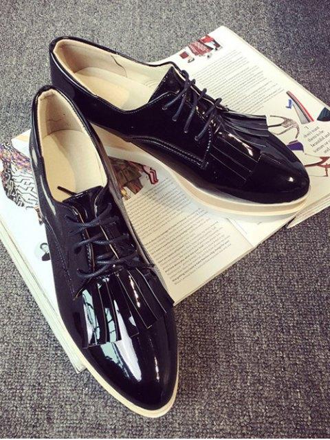 outfit Fringe Platform Tie Up Wedge Shoes - BLACK 37 Mobile