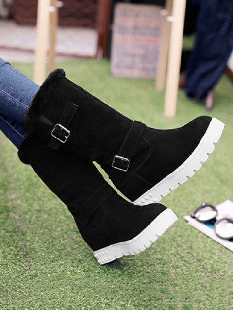 women Double Buckles Platform Snow Boots - BLACK 39 Mobile