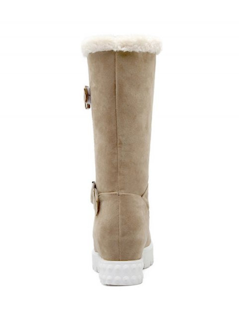 hot Double Buckles Platform Snow Boots - APRICOT 37 Mobile