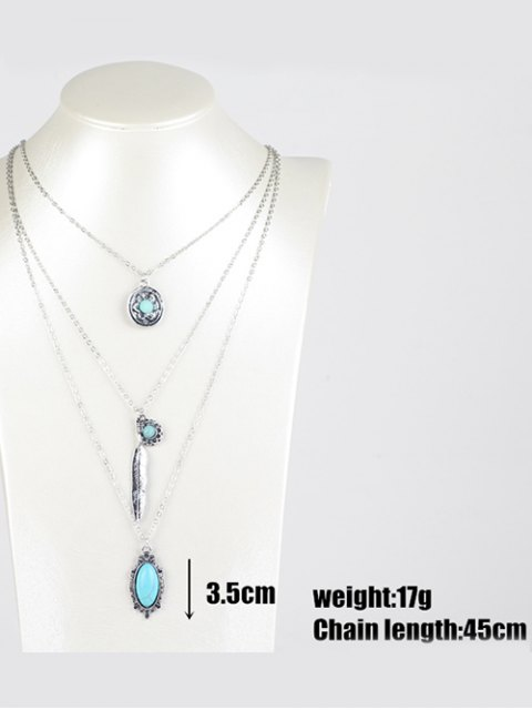 best Bohemian Layered Pendant Necklace - SILVER  Mobile