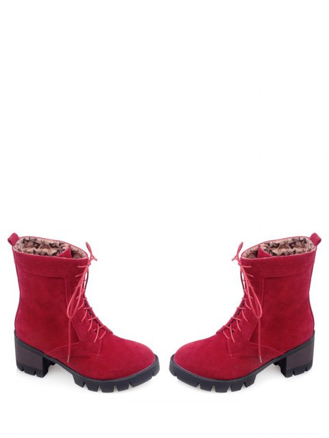 unique Lace-Up Chunky Heel Combat Boots - RED 38 Mobile
