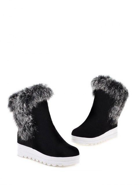 sale Faux Fur Platform Short Boots - BLACK 39 Mobile