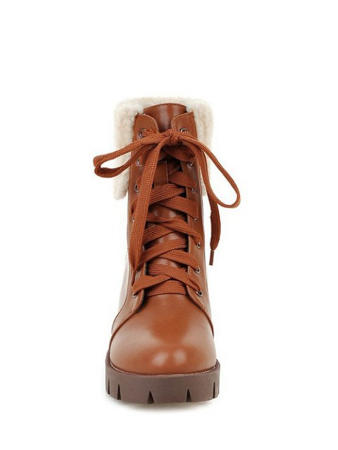 women's Faux Shearling Lace-Up Chunky Heel Boots - BROWN 38 Mobile