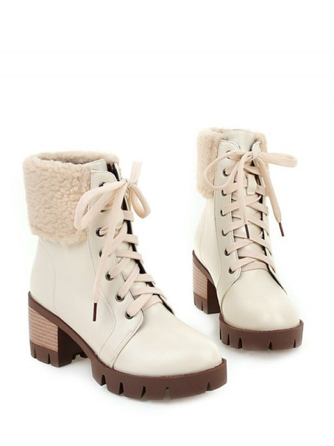 hot Faux Shearling Lace-Up Chunky Heel Boots - OFF-WHITE 38 Mobile