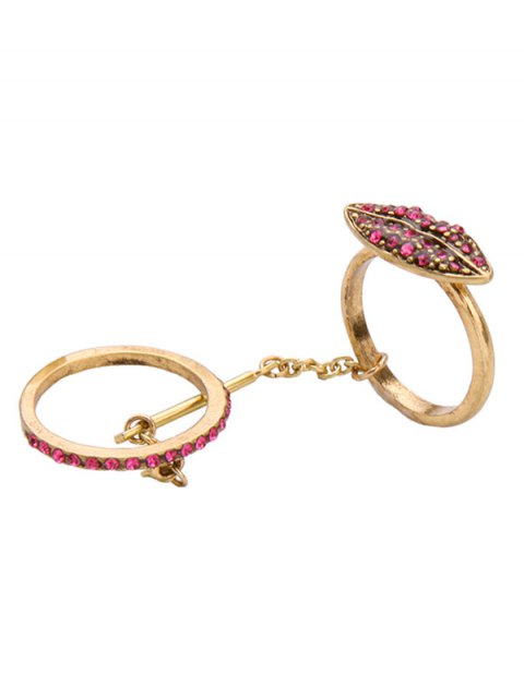 chic Vintage Rhinestone Lips Shape Ring Set - GOLDEN ONE-SIZE Mobile