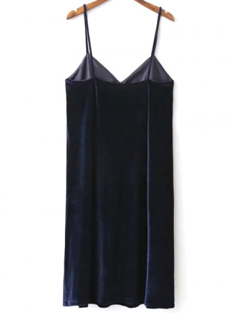 outfits Velvet Cami Slip Dress - PURPLISH BLUE M Mobile