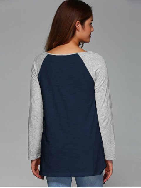 best Raglan Sleeve Asymmetrical Tee - PURPLISH BLUE 2XL Mobile