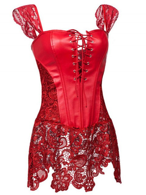 ladies Faux Leather Lace Up Lace Corset Top - RED 4XL Mobile