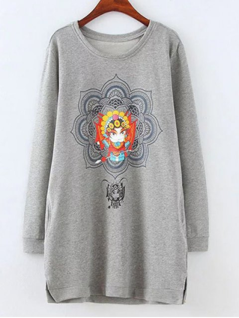 women Opera Mask Print Plus Size Sweatshirt - GRAY XL Mobile