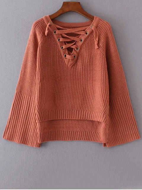 unique High Low Lace Up Sweater - BRICK-RED ONE SIZE Mobile