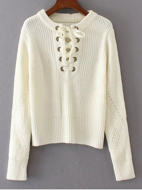 sale Round Neck Lace Up Jumper - WHITE ONE SIZE Mobile