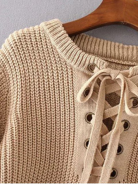 affordable Round Neck Lace Up Jumper - GRAY ONE SIZE Mobile