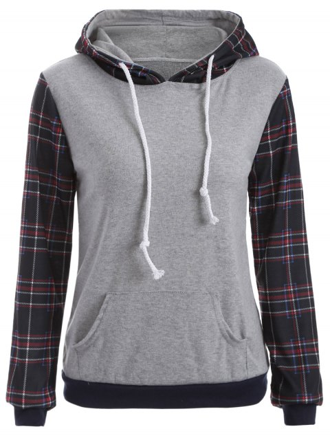 fashion Checked Pocket Hoodie - BLACK L Mobile