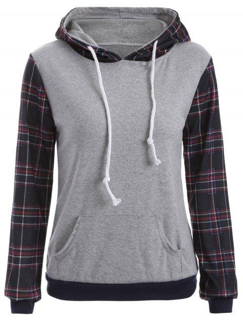 trendy Checked Pocket Hoodie - BLACK XL Mobile