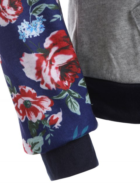 affordable Pocket Floral Hoodie - GRAY M Mobile