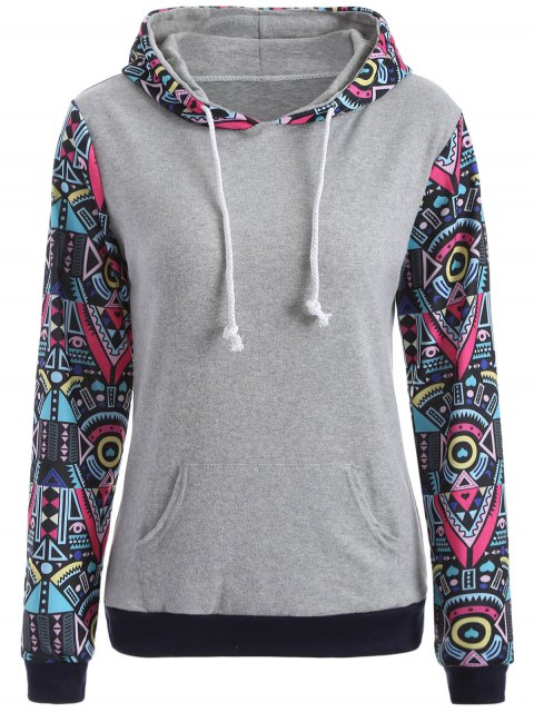 best Pocket Geometric Print Hoodie - GRAY L Mobile
