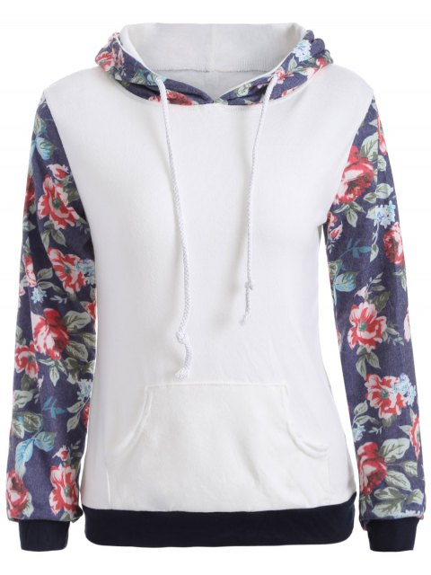 outfits Floral Pattern Pocket Hoodie - WHITE M Mobile