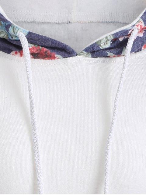 shop Floral Pattern Pocket Hoodie - WHITE S Mobile