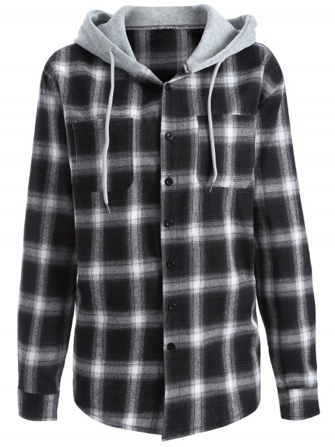 shop Hooded Checked Shirt - WHITE AND BLACK M Mobile