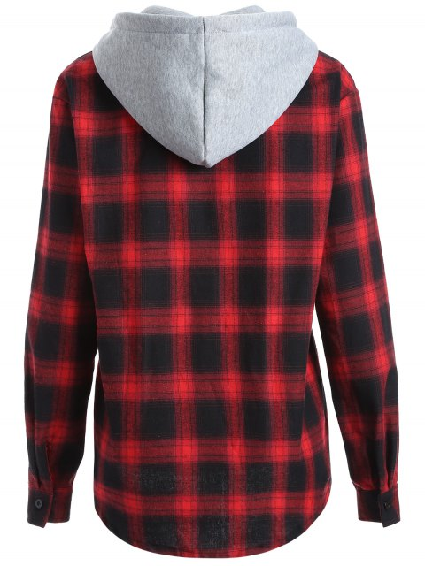 latest Hooded Checked Shirt - RED M Mobile