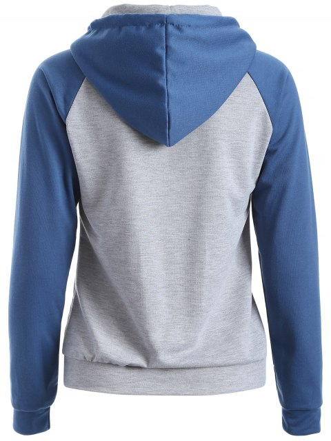 shop Casual Raglan Sleeve Hoodie - BLUE XL Mobile