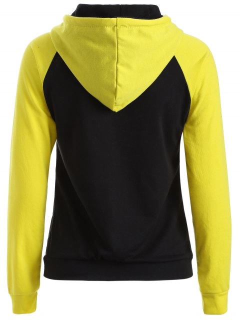 chic Casual Raglan Sleeve Hoodie - YELLOW L Mobile