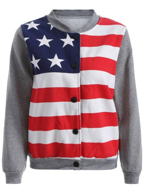 unique Flag Print Sweatshirt Jacket - GRAY M Mobile