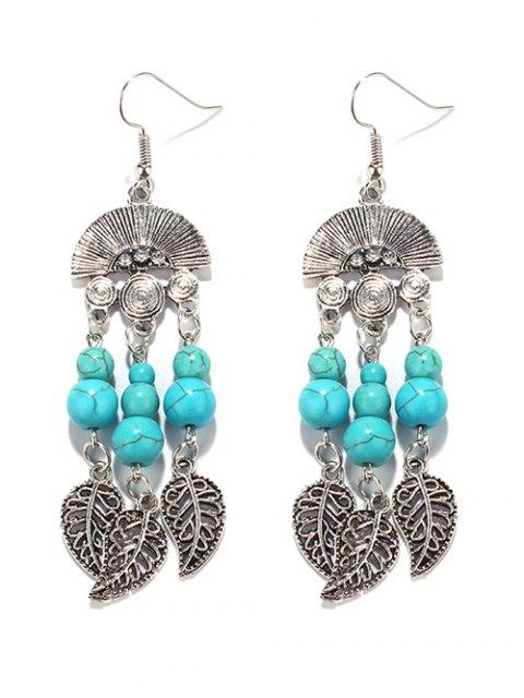 women Bohemian Turquoise Leaf Chandelier Earrings - TURQUOISE GREEN  Mobile