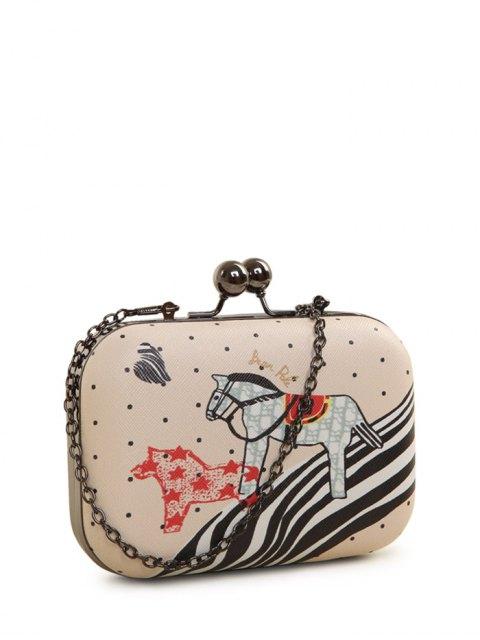 women Polka Dot Cartoon Horse Print Evening Bag - PINK  Mobile