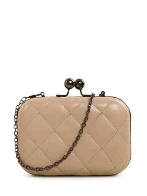 ladies Kiss Lock Quilted Evenig Bag - NUDE  Mobile