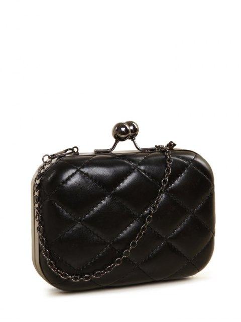 lady Kiss Lock Quilted Evenig Bag - BLACK  Mobile