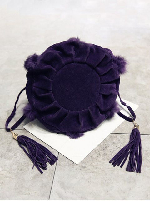 unique Braid Tassel Furry Bucket Bag - PURPLE  Mobile