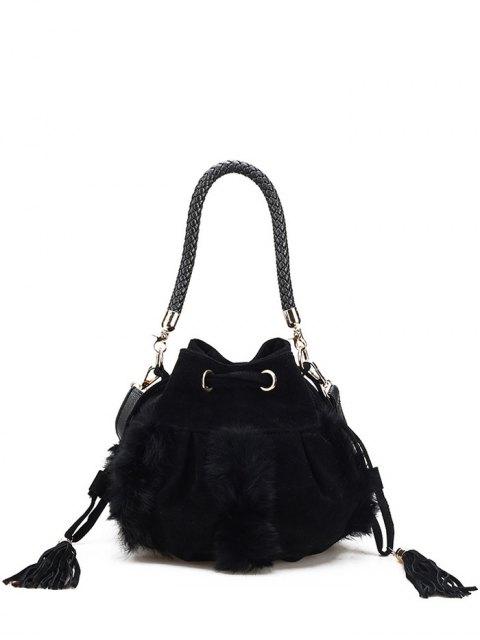sale Braid Tassel Furry Bucket Bag -   Mobile